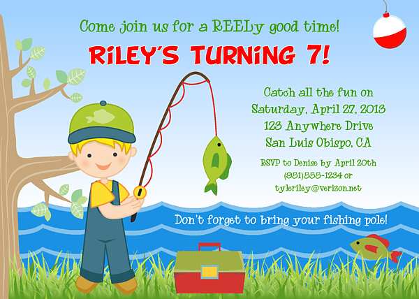 Fishing Birthday Party Invitations Fish Ocean Sea Kids Birthday