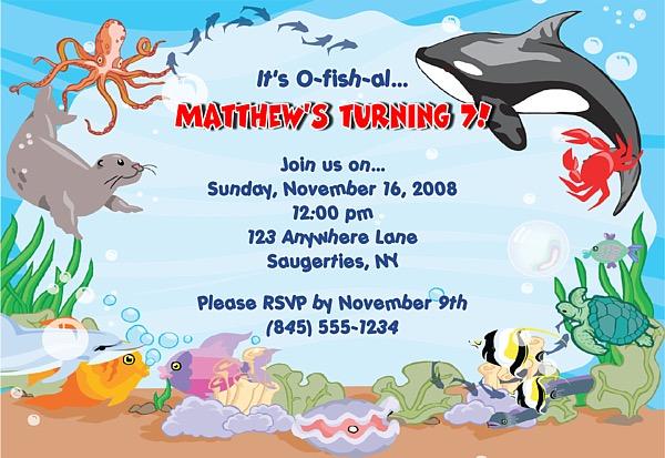 Fish Ocean Sea Birthday Party Invitations Fish Ocean Sea