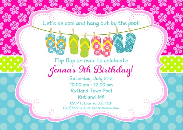 Flip Flops Pool Party Birthday Invitations | Swimming Pool Party ...