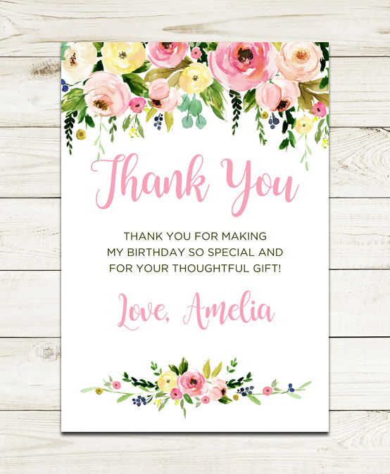 Pink Floral Thank You Cards Wedding Pink White Flower Wreath Personalized Thank You Cards 0017 Printable OR Printed Thank You Cards