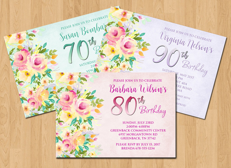 Flowers Party Invitation 80th Birthday