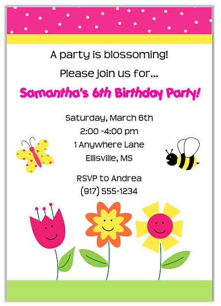 Butterfly Flowers Birthday Party Invitations Girl Flowers – Butterfly Invitations Birthday
