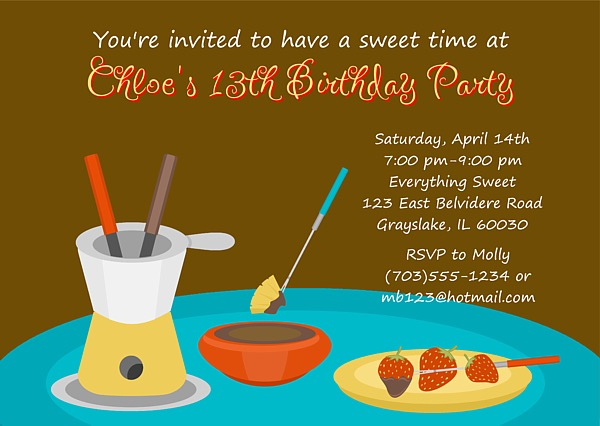 Fondue Party Invitations Candy Chocolate – Fondue Party Invitations