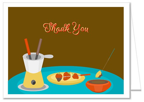 Fondue Party Thank You Note Cards Personalized
