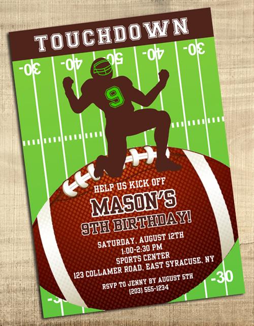 football birthday party invitations football sports