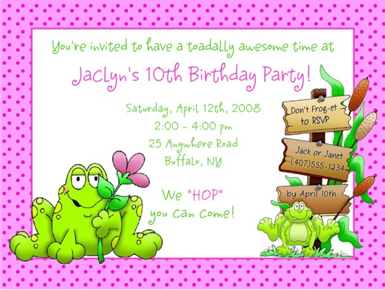 Frog birthday party invitations girl frog kids birthday stopboris Images