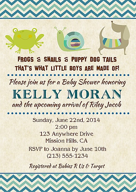 Frogs snails puppy dog tails boy baby shower invitations baby shower filmwisefo Image collections