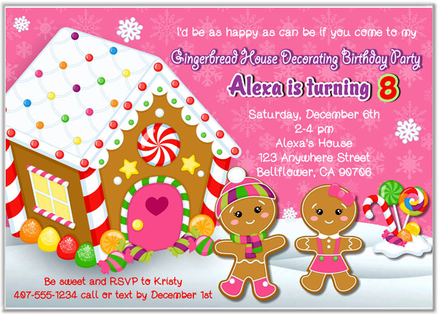 Gingerbread House Party Invitations