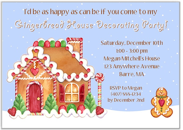 Gingerbread House Holiday Christmas Party Invitations – Gingerbread Party Invitations