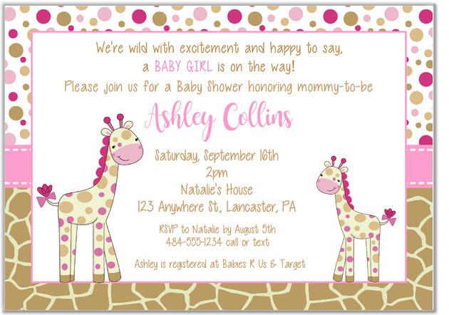 Giraffe Baby Shower Invitations | Baby Shower