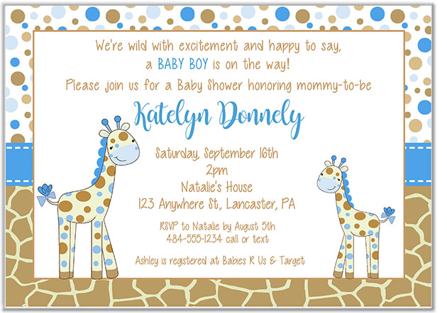 Giraffe Baby Shower Invitations Baby Shower