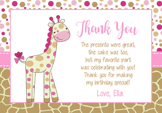 Giraffe Thank You Cards Personalized