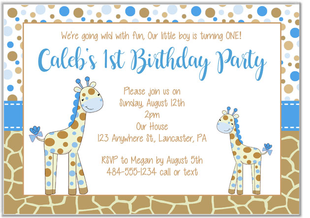 giraffe birthday party invitations kids birthday