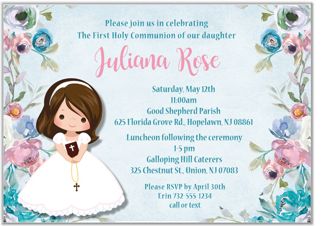 First Holy Communion Girl Floral Invitations Religious