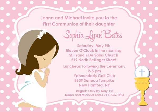 First Holy Communion Girl Invitations Religious