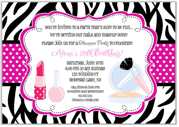 Glamour Girl Makeover Birthday Party Invitations | Glamour Makeover Spa | Kids Birthday