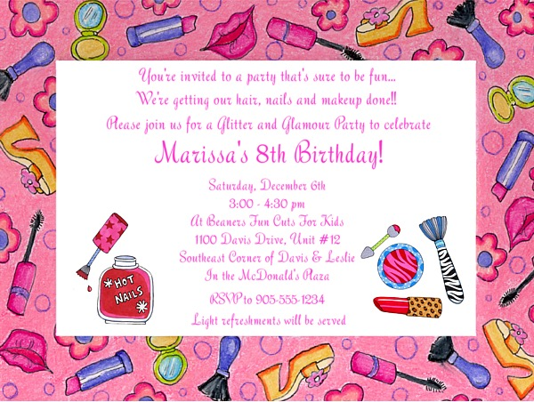 Glamour Girl Makeup Birthday Party Invitations – Makeover Party Invitations