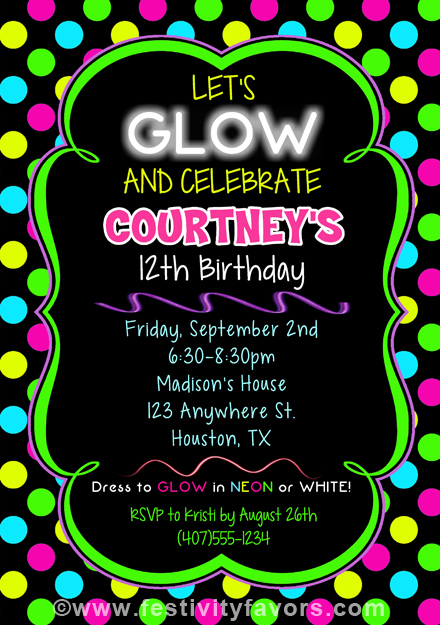 Neon Glow Birthday Party Invitations Kids Birthday