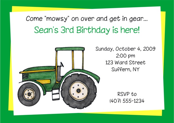 Green Tractor Birthday Party