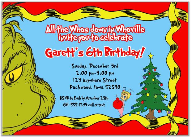 Christmas Birthday Image.Grinch Christmas Birthday Party Invitations