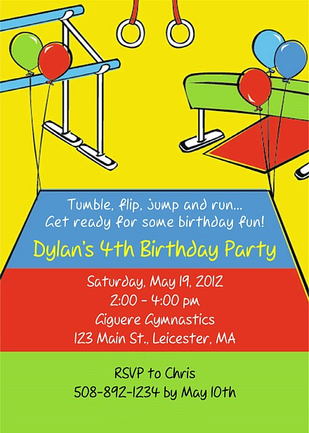 Gymnastics Birthday Party Invitations Gymnastics Sports Kids