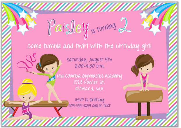 Gymnastics Birthday Party Invitations Girl Gymnastics Sports Kids Birthday
