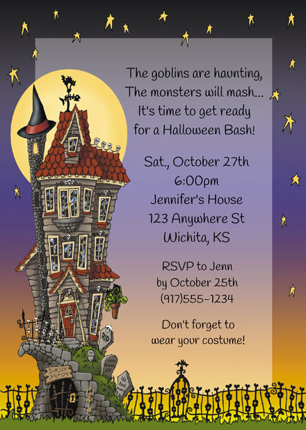 halloween party haunted house invitations