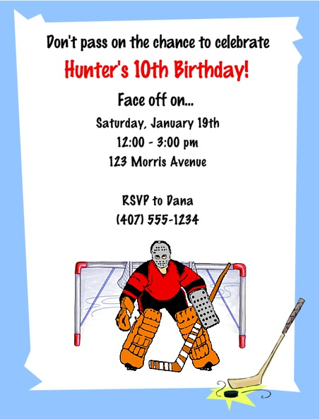 Hockey Birthday Party Invitations Hockey Sports Kids Birthday