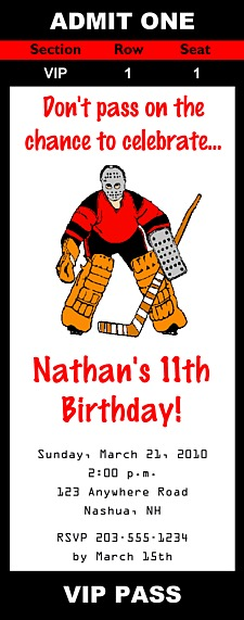 Hockey Birthday Party Ticket Invitations Hockey Sports Kids