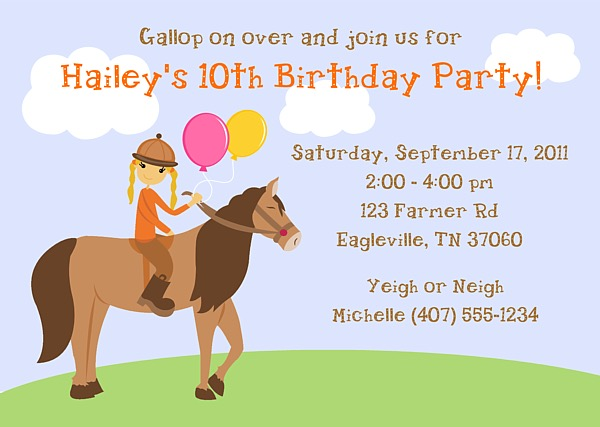 Horseback Riding Birthday Party Invitations Horse Pony – Horse Party Invitations