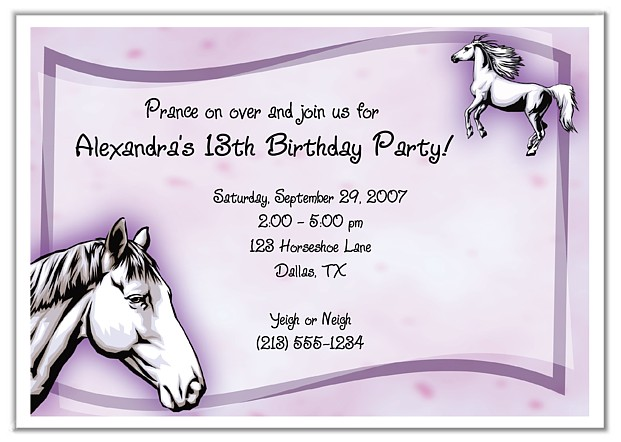 Horse Birthday Party Invitations Horse Pony – Horse Party Invitations