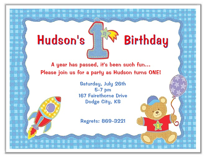 Birthday Boy Party Invitations Hugs