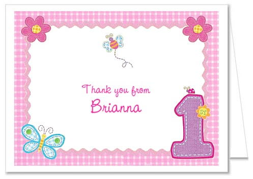 Hugs and stitches 1st birthday girl thank you note cards bookmarktalkfo Images