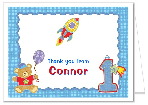 Hugs And Stitches 1st Birthday Boy Thank You Note Cards