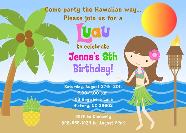 Hula Girl Luau Birthday Party Invitations Luau Kids Birthday