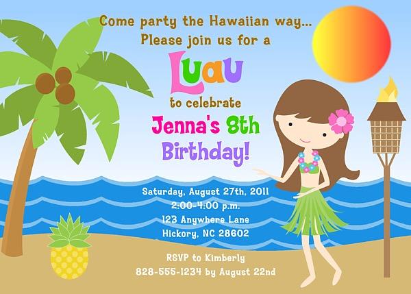 Hula Girl Luau Birthday Party Invitations
