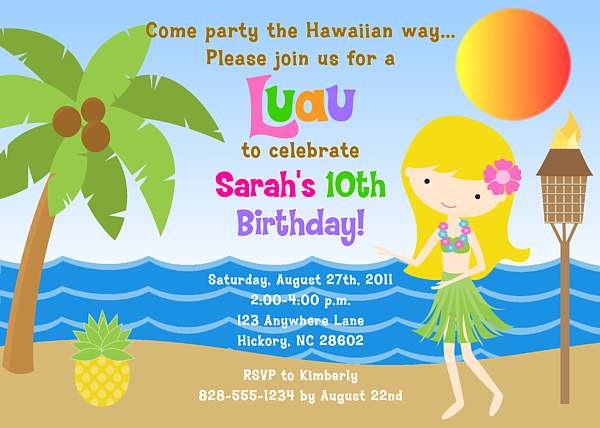 hula girl luau birthday party invitations  luau  kids birthday, Birthday invitations