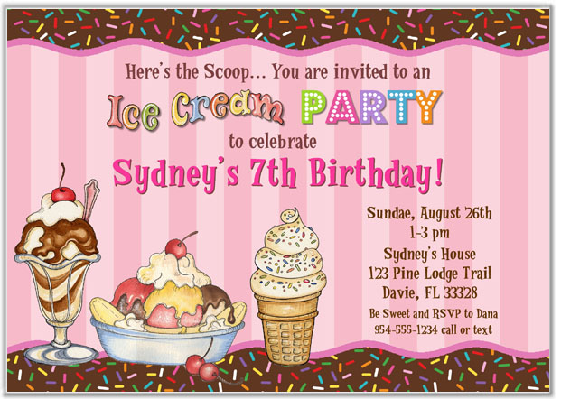 Ice Cream Birthday Party Invitations Ice Cream – Ice Cream Party Invitation