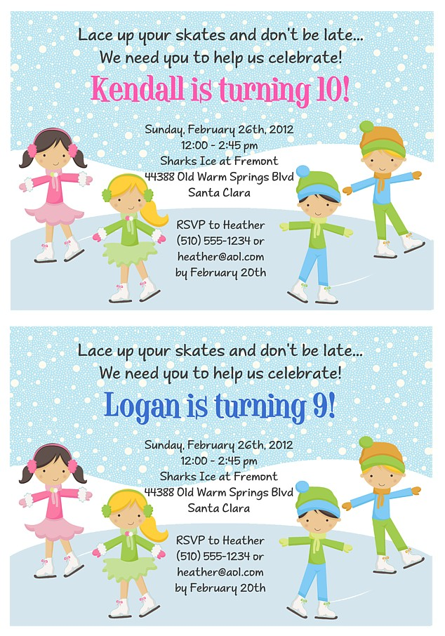 Ice skating birthday party invitations skating birthday party invitations personalized ice filmwisefo