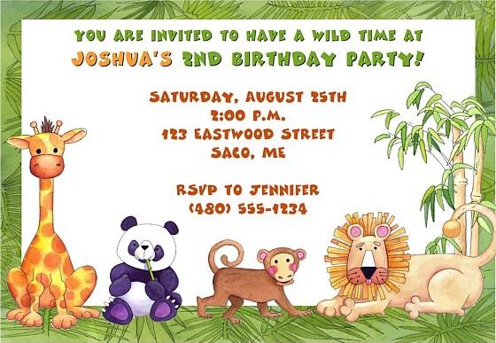 Jungle Animals Birthday Party Invitations Kids