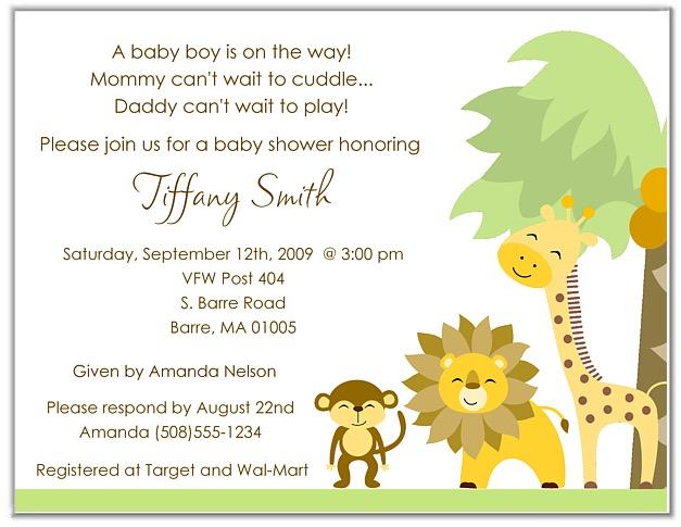 Jungle Animals Baby Shower Invitations Baby Shower