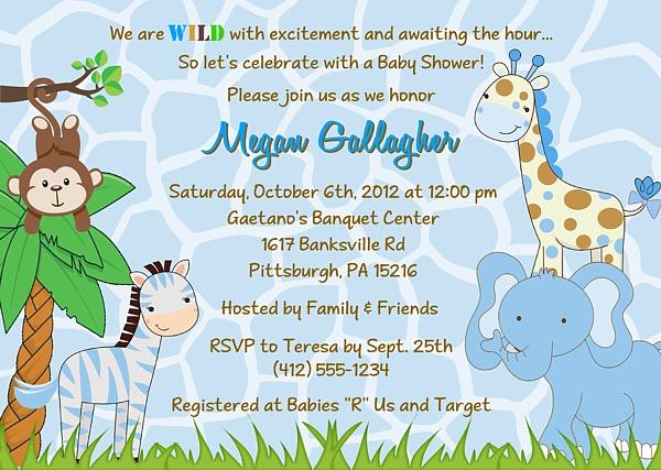 Jungle Animals Baby Shower Invitations Boy Baby Shower