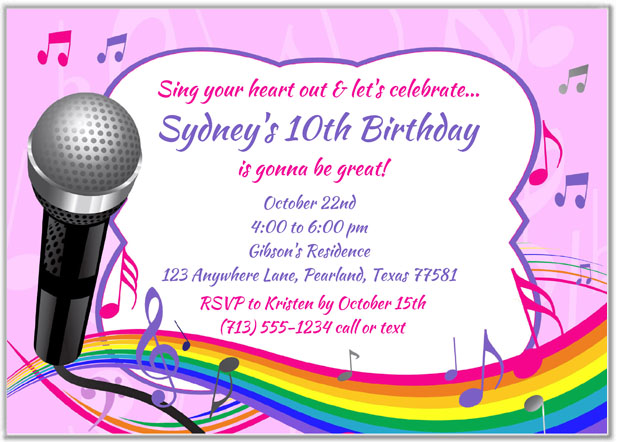 Karaoke Birthday Party Invitations
