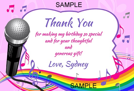 Karaoke party thank you cards personalized karaoke stopboris Choice Image