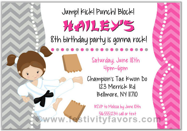 karate birthday party invitations candy wrappers labels cards – Karate Party Invitations
