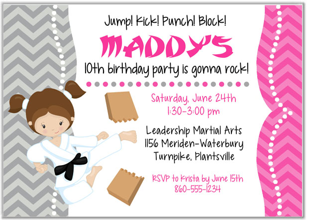 Karate Tae Kwon Do Martial Arts Birthday Party Invitations Girl – Martial Arts Birthday Invitations