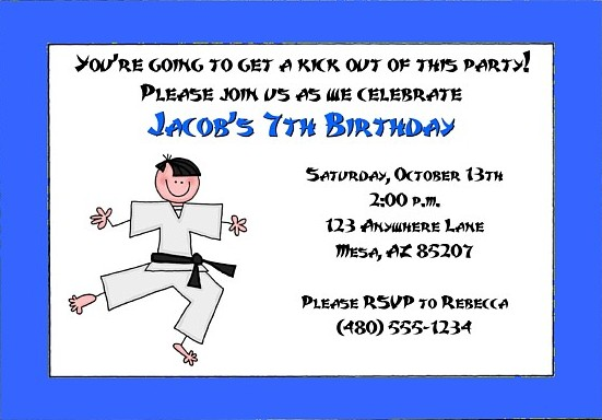 Karate Tae Kwon Do Martial Arts Birthday Party Invitations