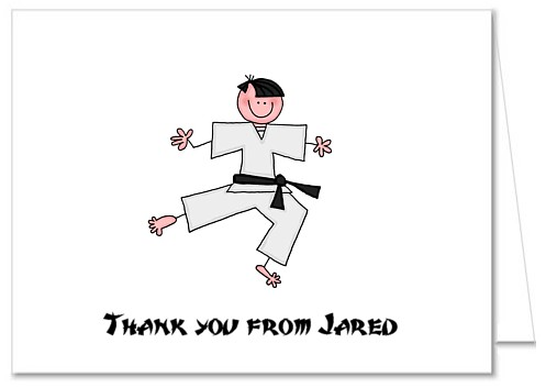 karate thank you note cards personalized - Thank You Note Cards