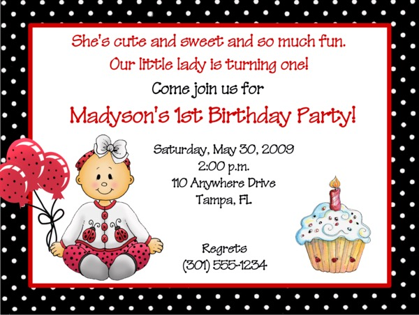 Ladybug 1st Birthday Girl Party Invitations – Ladybug Invitations 1st Birthday