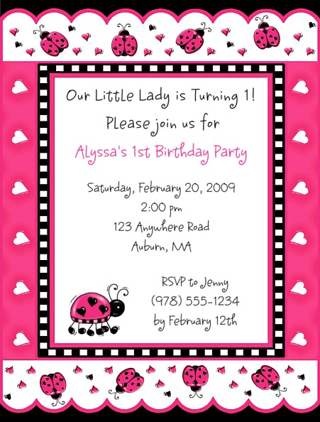 Ladybug Birthday Party Invitations Pink and Black Ladybug – Ladybug Invitations 1st Birthday